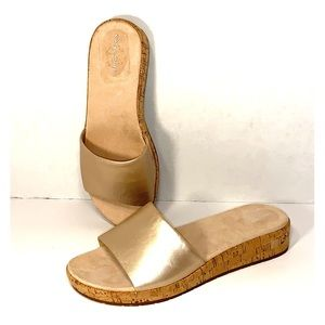 New Sz 8.5 W Blush Bronze Leather Sandal Slides